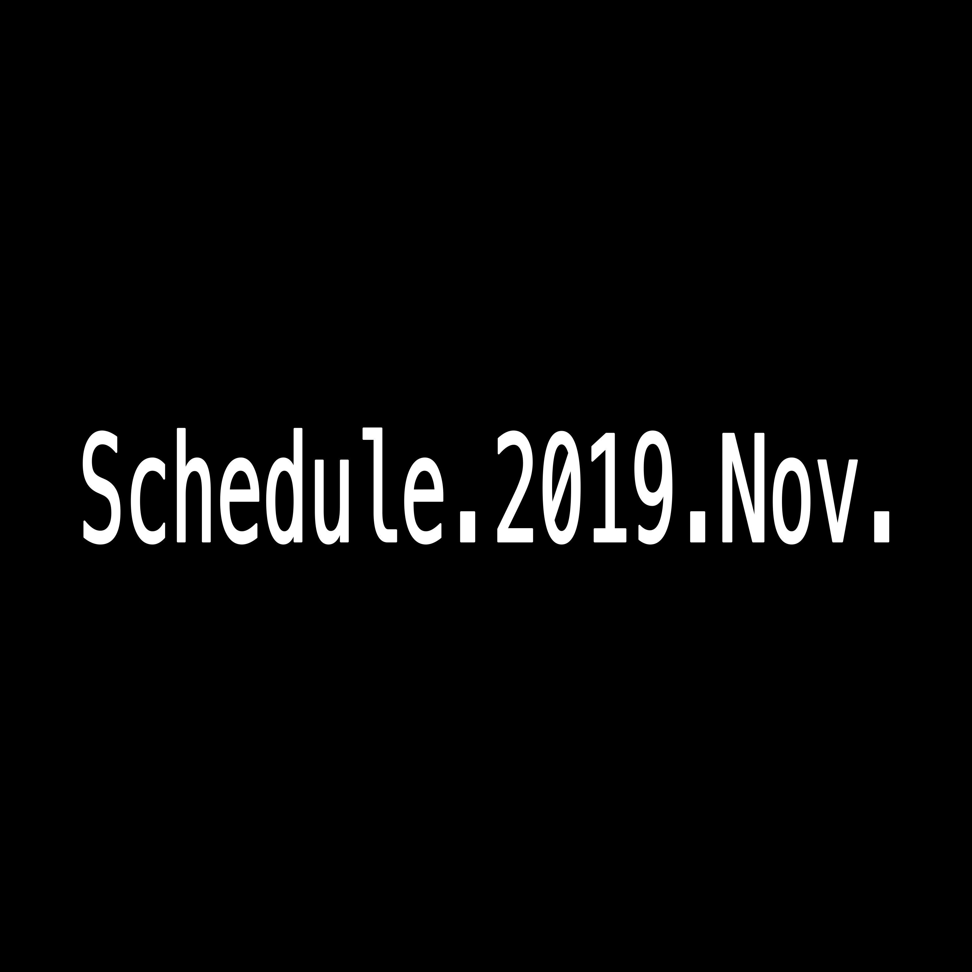 2019年11月Schedule